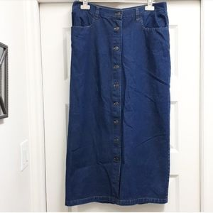 Dark blue wash button up maxi denim skirt
